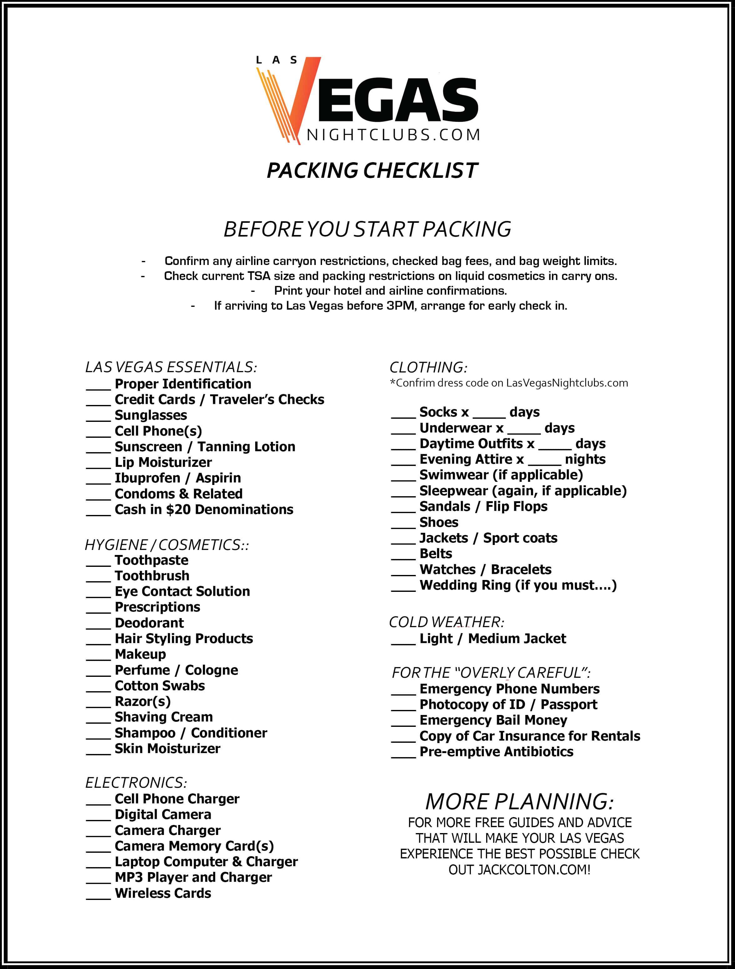 Las Vegas packing checklist