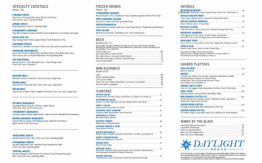 Daylight beach club food menu