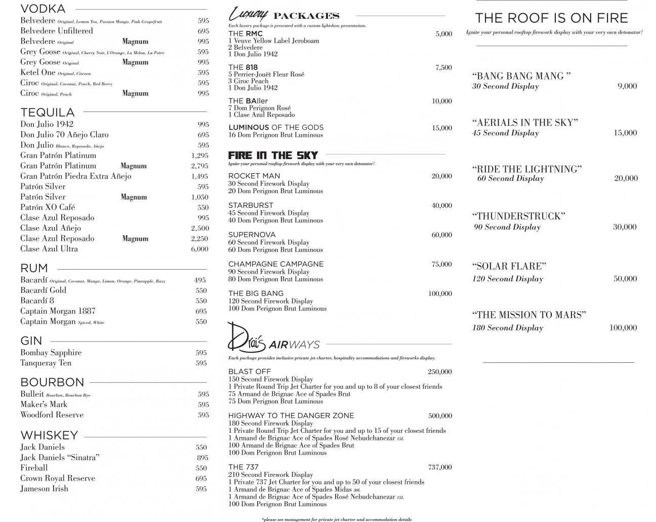 Drai's Beach Club drink menu