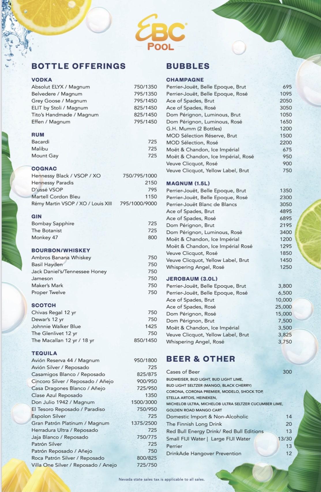 Encore Beach Club bottle service menu