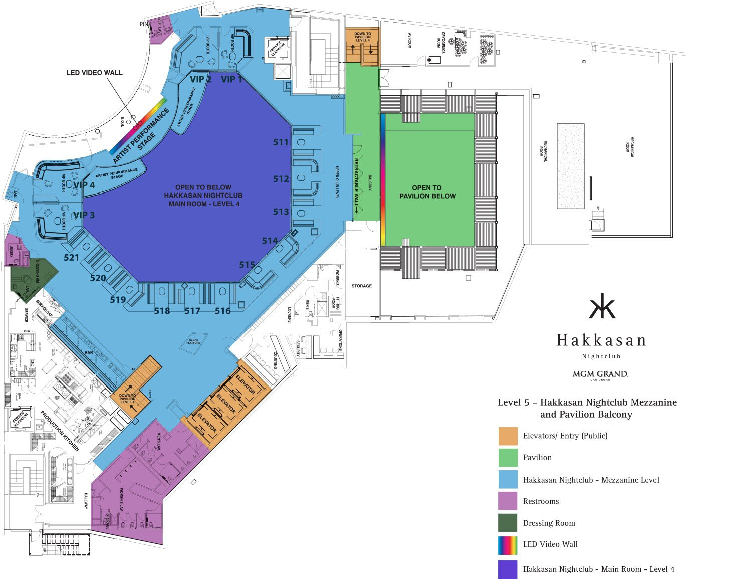 Hakkasan Nightclub floor plan