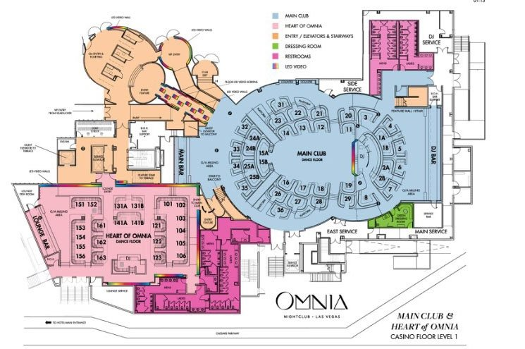 Omnia Nightclub map