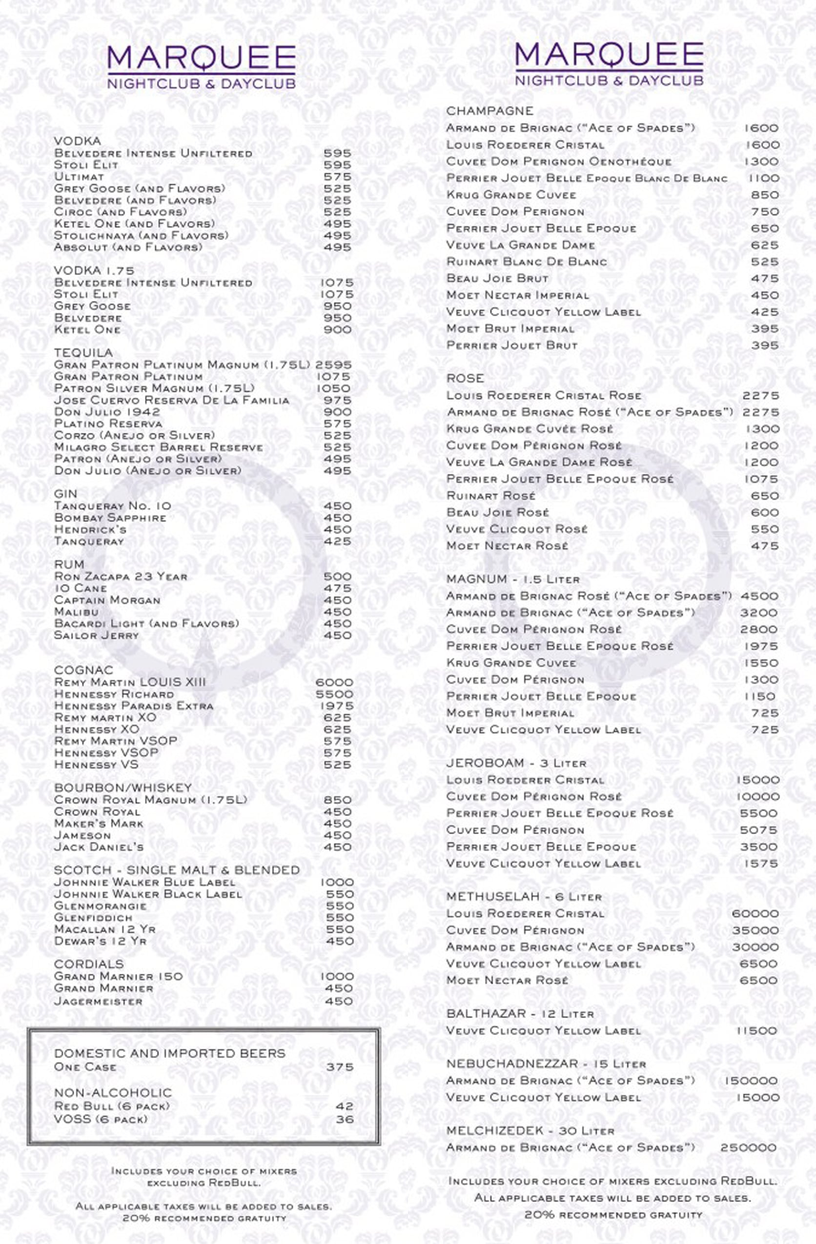 Marquee Nightclub Menu