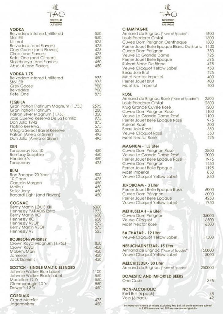 Tao Las Vegas menu
