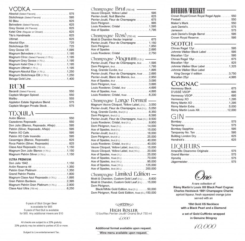XS bottle service menu