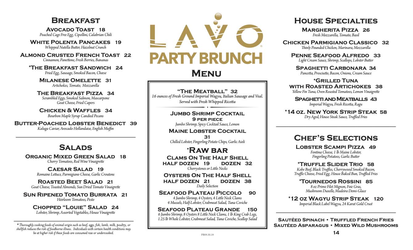 Lavo Party Brunch menu