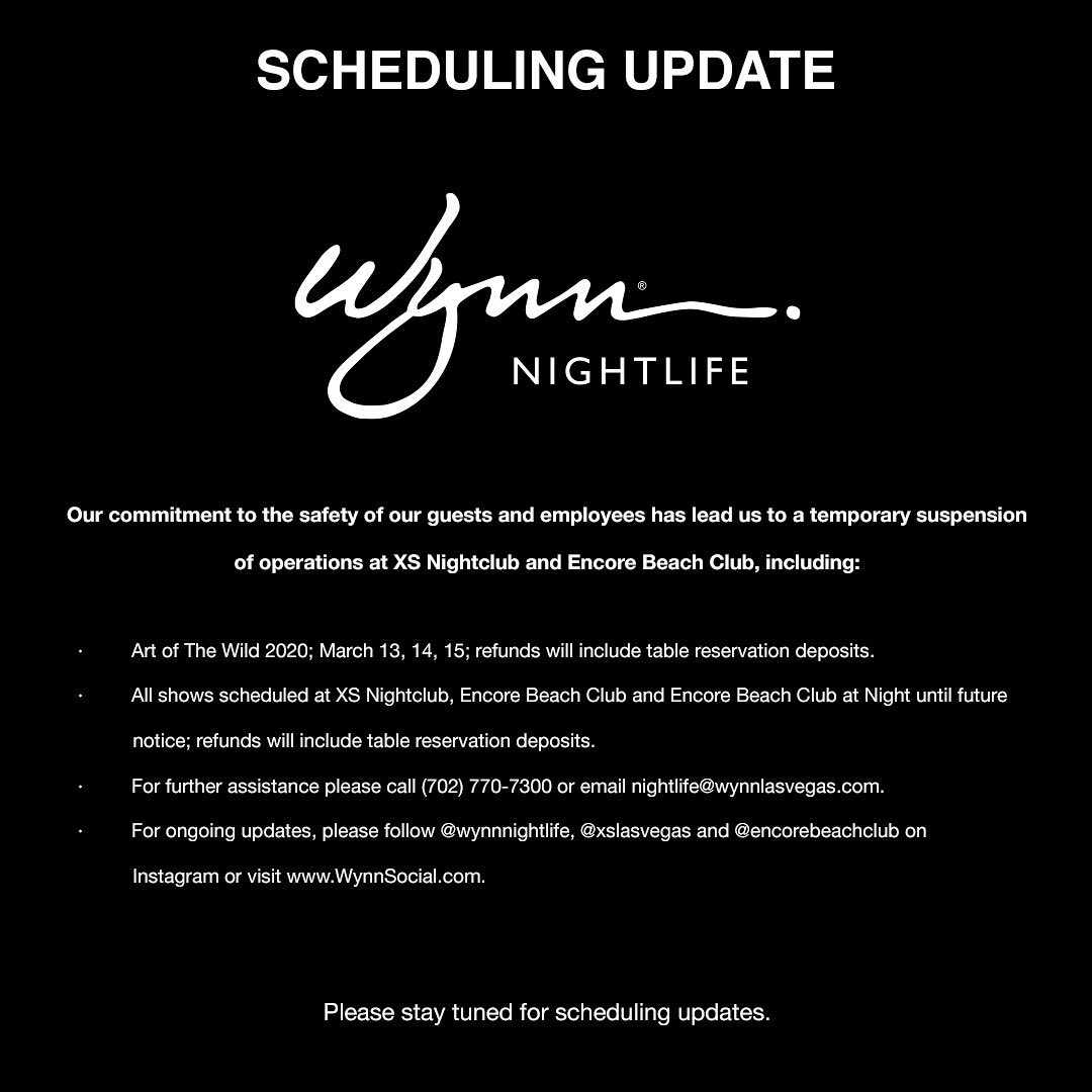 Wynn Nightlife suspended